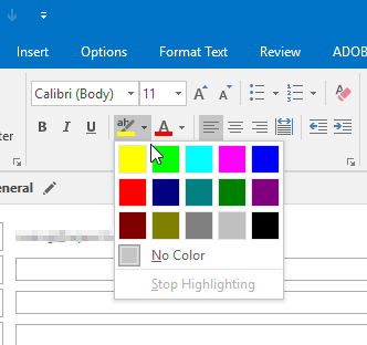 Highlight color picker in Outlook
